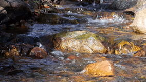 River Water Flow Between Rocks and Stones in Mountains Static. A static shot of a creek in the mountains. Water flows between stones stock video footage
