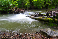 River and water motion. Water silky motion at Areuse Gorge, Neuchatel Switzerland Royalty Free Stock Photo