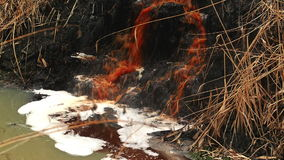 River Water Pollution And Contamination from Chemical Industry Factory Sewage, Steady stock footage