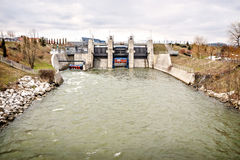 River water power electricity energy dam Stock Images