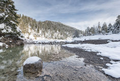 River water with snowy rock Stock Images