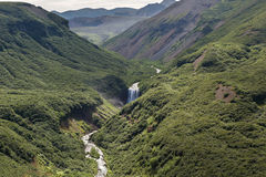 River and waterfall in the Caldera volcano Ksudach. South Kamchatka Nature Park. Stock Photography