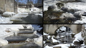 River waterfall cascade retro bridge frozen ice icicles winter stock footage