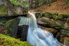 River waterfall in Europe mountain stock photography