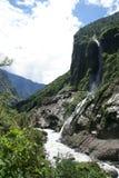 River, Waterfall, Mountain - Landscape. Nepal Himalayan scene taken whilst trekking around the Annurpurna Circuit + Sanctuary trek Royalty Free Stock Images