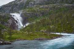 River and waterfall in the mountains Stock Photography