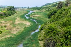 River Twisting Ocean Overhead Landscape royalty free stock photos