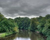 River Wear, Brancepeth, Co. Durham, UK. The River Wear shot from atop a bridge near Brancepeth, Co. Durham stock image