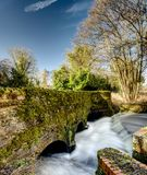 River Wey flows under an old moss covered road bridge. Stock Image