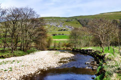 River Wharf in the Yorkshire Dales. View of the River Wharf with tree bordered banks, against a hilly background in the Yorkshire Dales, England Royalty Free Stock Photos