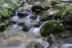River of silk. The river in which the running of the water is like silk when photographing it in long sentences royalty free stock photography