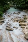 River with white water. Mineral springs in Sochi. stock photos