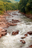 River. Wild River at the beautiful mountain valley Royalty Free Stock Image