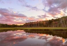 River and wild forest at dusk at sunset. USA. Maine. Dramatic sky and photos. royalty free stock images