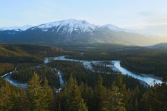 Winding river in mountainous landscape Royalty Free Stock Photos
