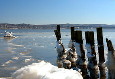 River in Winter. Frost covers part of the Hudson Rive in New York in winter Royalty Free Stock Photo