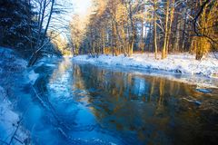 River in winter. Dappled sunlight streaming in mixed forest. On bright day stock photography