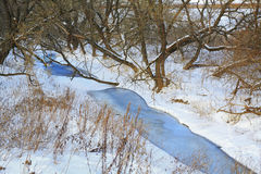 River in winter forest, ice, snow, landscape Stock Photography