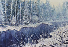 River in the winter forest. Original oil painting river in the winter forest on canvas. Impasto artwork. Impressionism art Royalty Free Stock Image