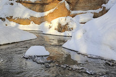 River in winter forest, riverbank, snow, white Royalty Free Stock Image