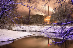 River in the winter. Interesting photo, citi at the night Royalty Free Stock Photos