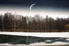 River winter night . Royalty Free Stock Photography
