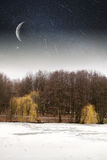 River winter night Royalty Free Stock Photo