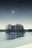 River winter night. Royalty Free Stock Photos
