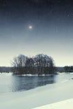 River winter night. Royalty Free Stock Photos