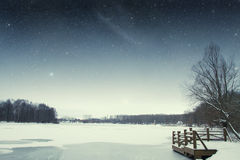 River winter night. Royalty Free Stock Image