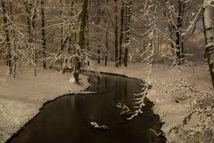 River in winter night Stock Photo