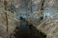 River in winter night Royalty Free Stock Photo