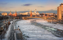 River winter path. Ice on the Moskva River and the Kremlin view of the sunset Royalty Free Stock Images