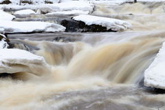 River at winter. River rapid whitwater winter water snow rocks Stock Photography