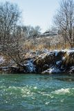 River in Winter. Rapids of Stormy River. Winter Landscape. Stock Image