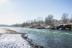 River in Winter. Rapids of Stormy River. Winter Landscape. Royalty Free Stock Images