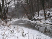 River in winter scenery Stock Photos