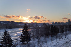 The river in the winter at sunset in Russia royalty free stock photo