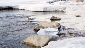 River in the winter. The thick winter ice on the river, but the river is still flowing stock video