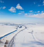 River in winter tundra from above Royalty Free Stock Photography