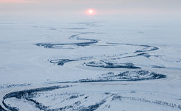 River in winter tundra, top view Stock Image