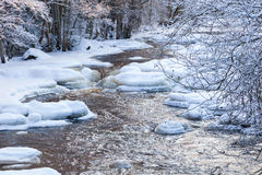 River in wintry lanscape Royalty Free Stock Photos