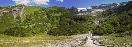 River With Water From The Glacier Of Mount Titlis Over Engelberg On Switzerland Royalty Free Stock Photography