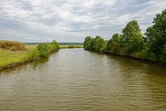 River in a wooded area. In cloudy weather stock image