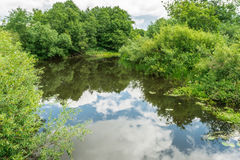 The river with wooded shores and a cloudy sky. Reflection of the sky in water Stock Images
