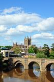 River Wye and Cathedral, Hereford. Stock Photo