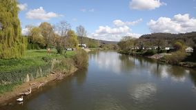 River Wye Monmouth Wales UK in the Wye Valley view from the bridge. In popular tourist town stock video