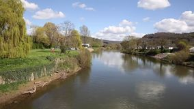 River Wye Monmouth Wales UK Wye Valley view from the bridge. River Wye Monmouth Wales UK in the Wye Valley view from the bridge in popular tourist town stock footage