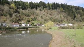 River Wye near Tintern Abbey in the Wye Valley between Monmouthshire Wales and Gloucestershire England stock footage