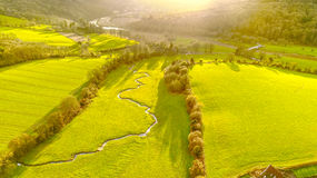 River In Wye Valley. River running through green field on a sunny day in the Wye Valley Royalty Free Stock Images